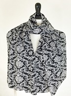 Picture of Black & White Damask Scarf