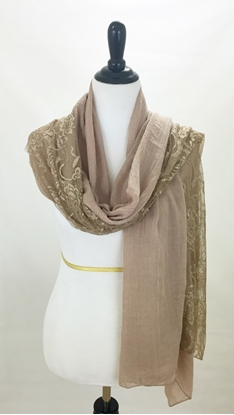 Picture of Beige Solid & Lace Scarf