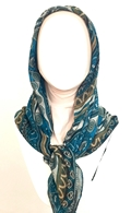 Picture of Patterned Stripes Teal & Beige Scarf