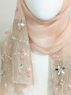 Picture of Peach Beaded Designed Border Scarf
