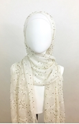 Picture of Beaded Embroidered Circular Patters  Silk Scarf