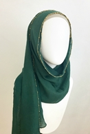Picture of Emerald Green Solid Bordered with Golden Beads