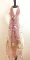Picture of Light Violet Embroidered  & Beeded Leafy Scarf