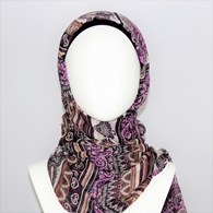 Picture of Patterned Stripes Plum & Eggplant Purple Scarf