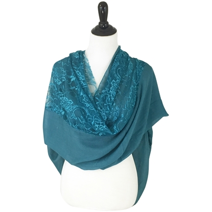 Picture of Teal Solid & Lace Scarf