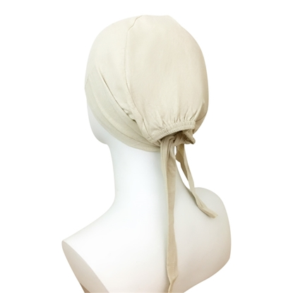 Picture of Hijab Beige Tie Back Bonnet - Turlu Fabric