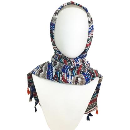 Picture of Cooling Tribal Patterned Stripes Hijab Royal Blue & Orange