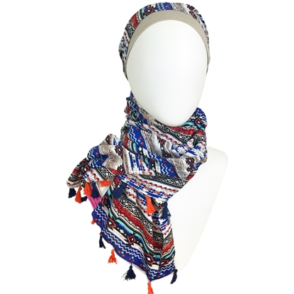 Picture of Cooling Tribal Patterned Stripes Hijab Royal Blue & Orange