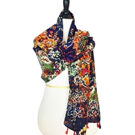 Picture of Fall Multi-Colored Scarf - Navy Background