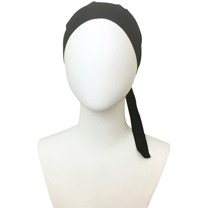Picture of Hijab Black Tie Back Bonnet - Turlu Fabric