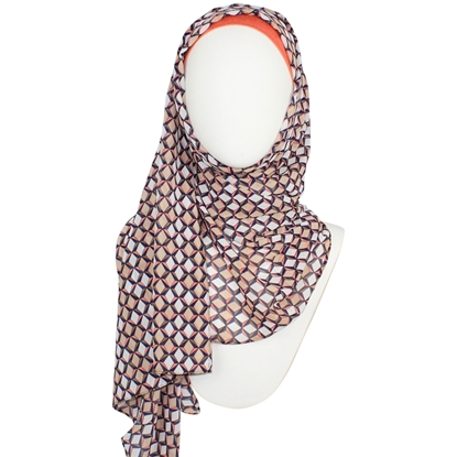 Picture of Patterned Chiffon Hijab Print Peach