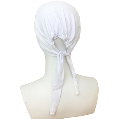 Picture of Hijab White Tie Back Bonnet - Turlu Fabric