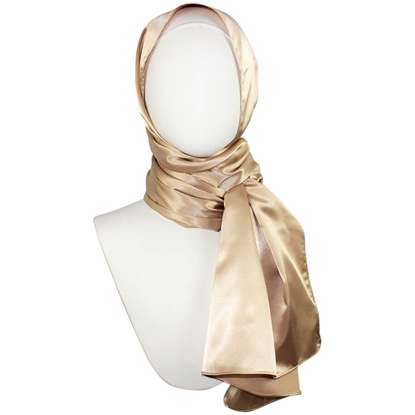 satin golden hijab