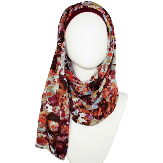 Floral patterned jersey hijab   Lina Zibdeh