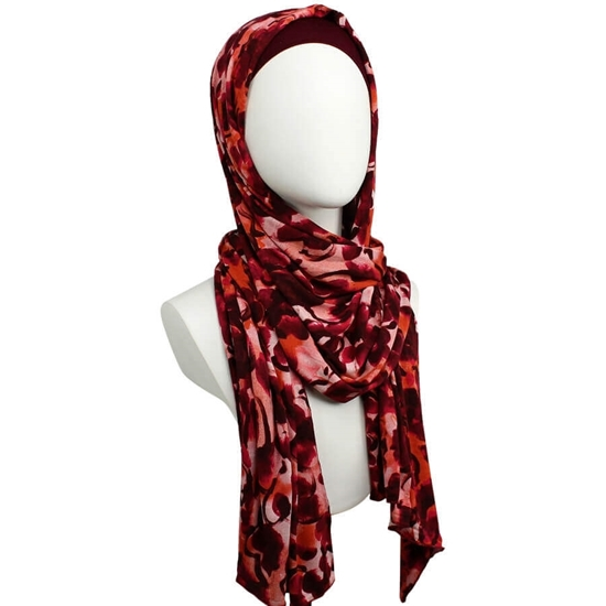 Picture of Warm-Hearted Patterned Jersey Hijab  - Soft & Light