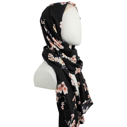 Picture of Floral Black Textured Rayon Hijab