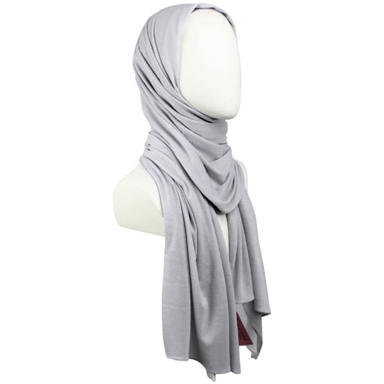 Picture of Kuwaiti Light Grey Waffle Print Hijab