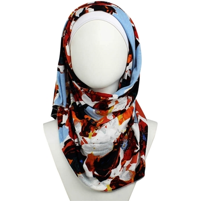 Picture of Floral Freshness Patterned Jersey Hijab  - Soft & Light