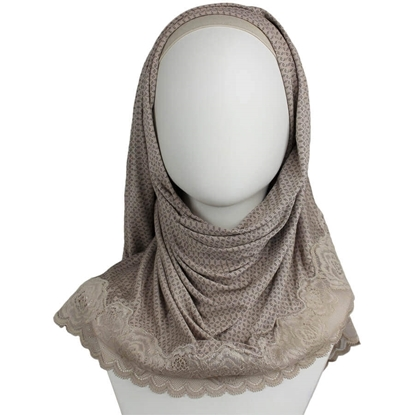 Picture of Kuwaiti Light Brown Hijab Lace border
