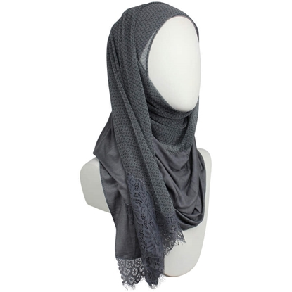 Picture of Kuwaiti Double Border  & Lace Charcoal  Hijab