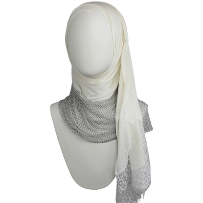 Picture of Kuwaiti Double Border  & Lace Cream Hijab (with Pearls)