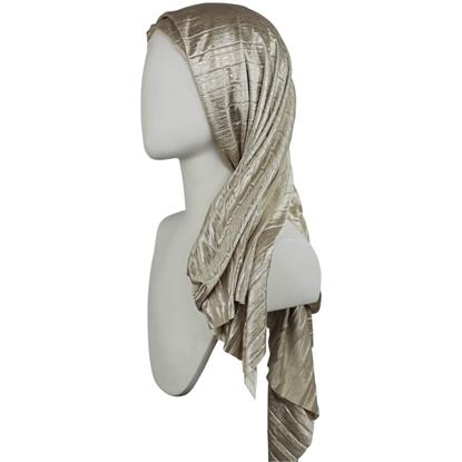 Picture of Shine on!  Metallic Golden Beige & Silver Plissé  Hijab