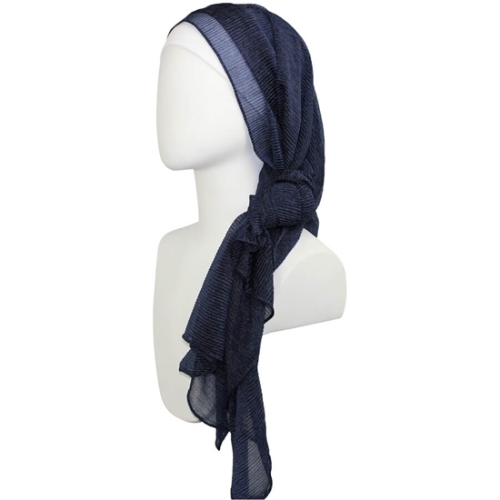 Picture of Kuwaiti Navy Blue Plissé Chiffon  Hijab