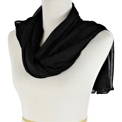Picture of Kuwaiti Black Plissé Chiffon  Hijab
