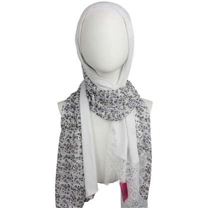 Picture of Kuwaiti Double Border  & Lace Ivory White Hijab