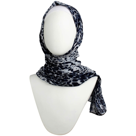 Picture of Navy Grey Leopard Print Chiffon Hijab