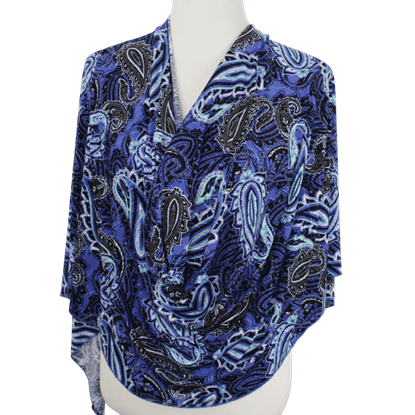 """Picture of Royal Blue Paisley Print Buttery Patterned Jersey Hijab  - Soft & Cool """"Zibde Feel"""""""